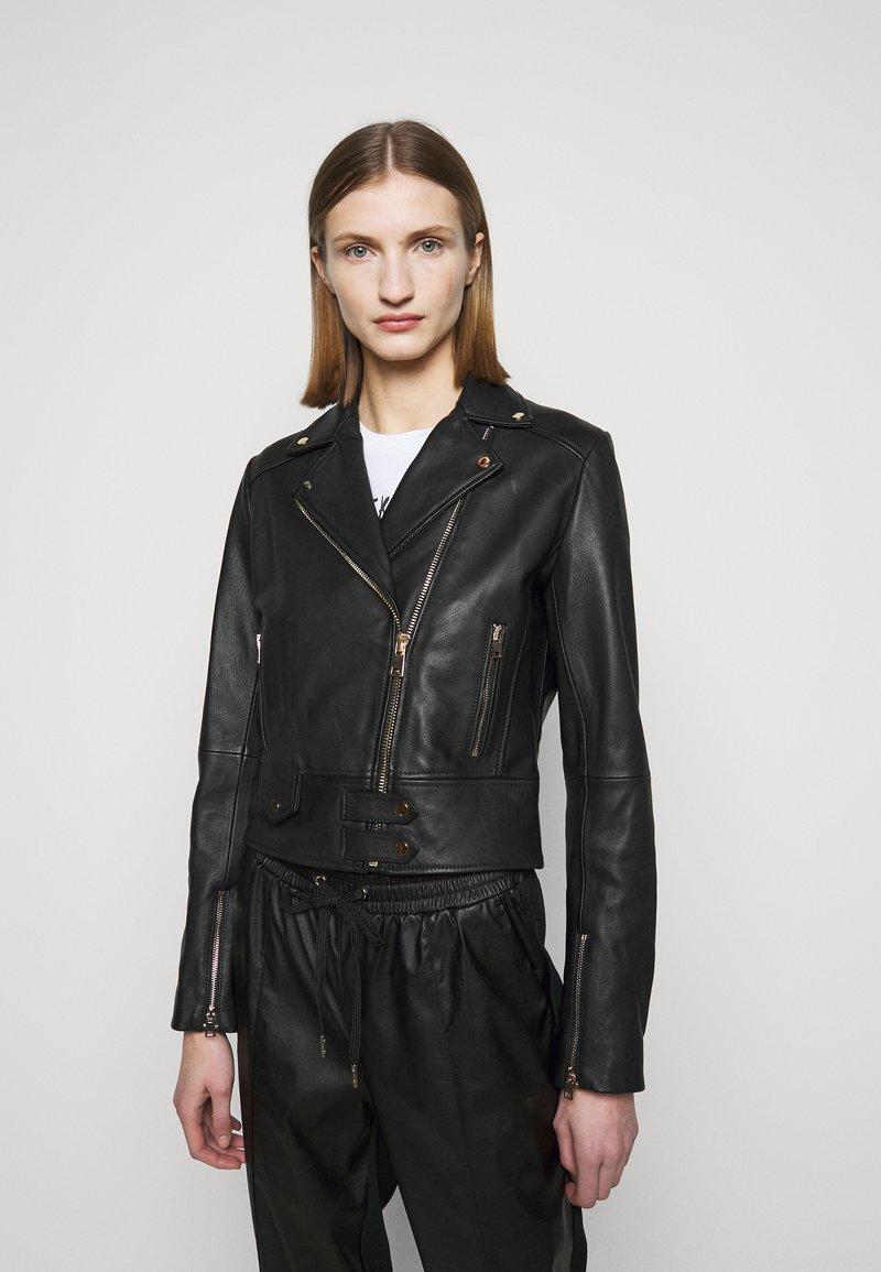 Pinko - SENSIBILE CHIODO - Leather jacket - black