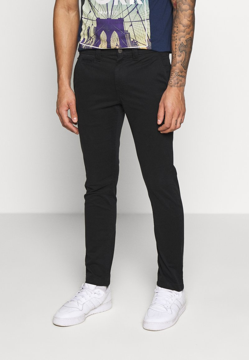 Calvin Klein Jeans - SKINNY WASHED STRETCH - Trousers - black