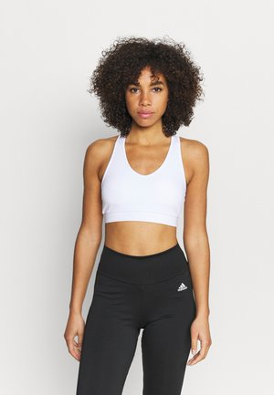 V NECK CUT OUT CROP - Light support sports bra - white