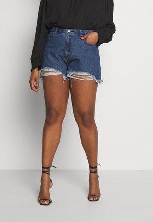 EXTREME FRAY HEM RIOT - Denim shorts - indigo
