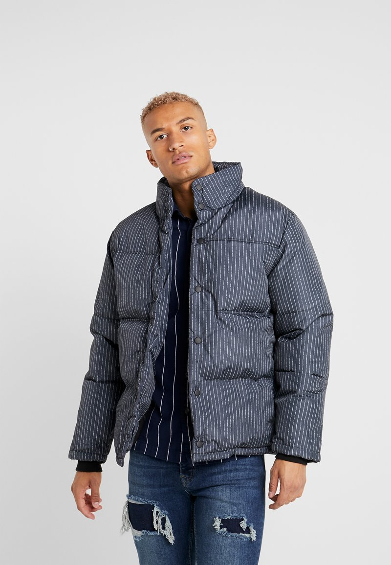 Topman - STRIPE PUFFER - Winter jacket - black