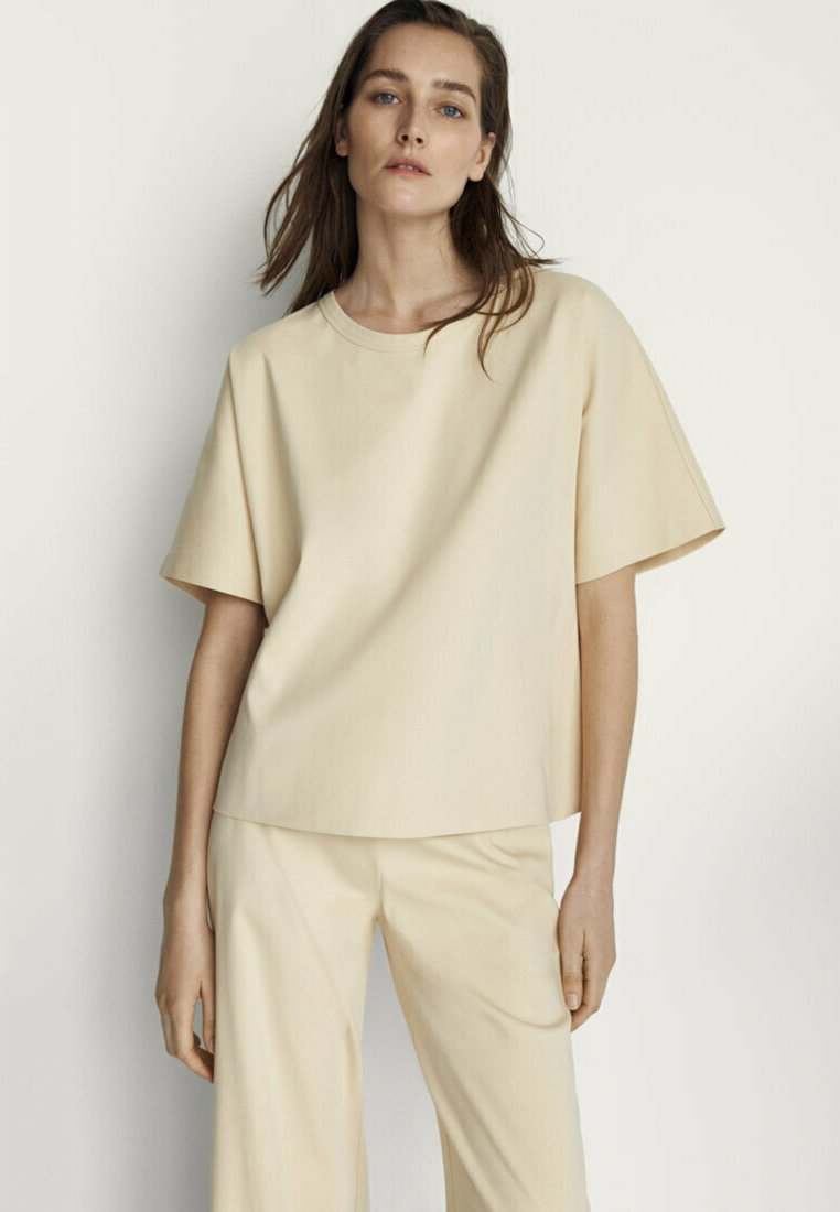 Massimo Dutti - Basic T-shirt - beige