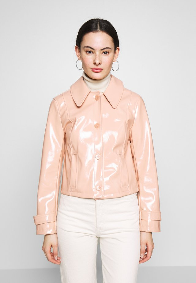 LISA FUR COLLAR - Faux leather jacket - peach