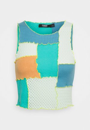 PANELLED HIGH NECK SINGLET - Topper - blue/green/orange