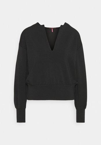 OPEN NECK AND VOLUMNIOUS SLEEVES - Sweatshirt - black