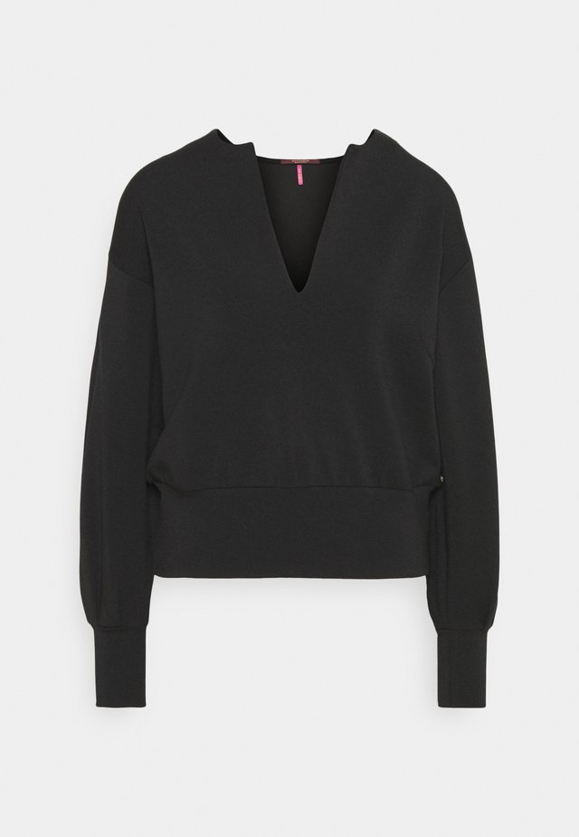 OPEN NECK AND VOLUMNIOUS SLEEVES - Sweatshirt - black