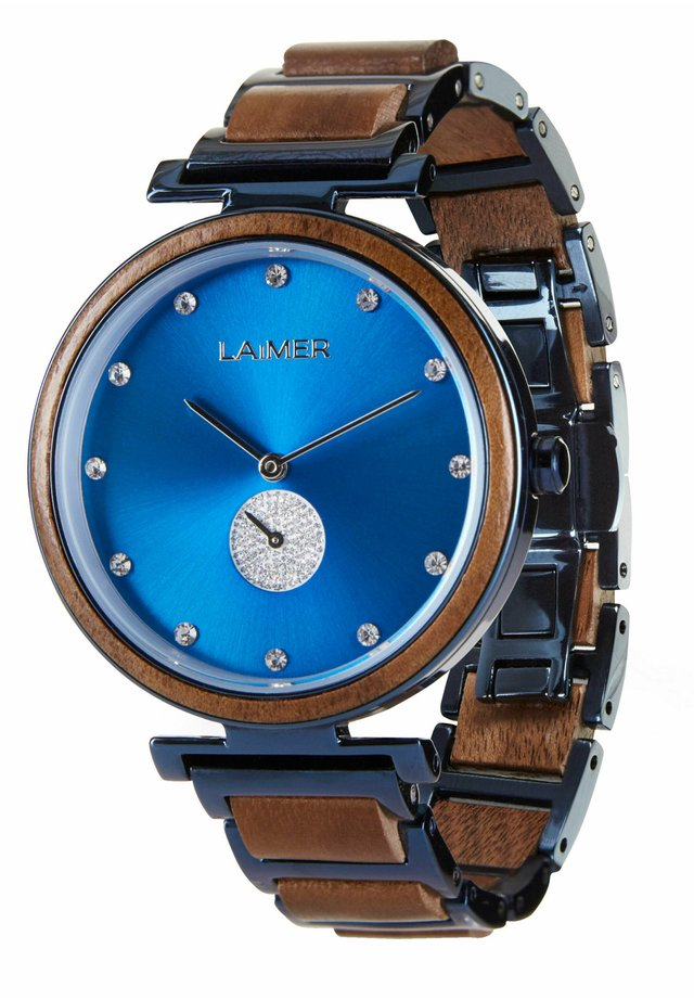 LAIMER QUARZ HOLZUHR - ANALOGE ARMBANDUHR MIRIAM - Watch - blue/brown