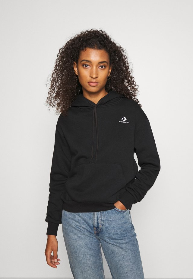 EMBROIDERED HOODIE - Hoodie - black