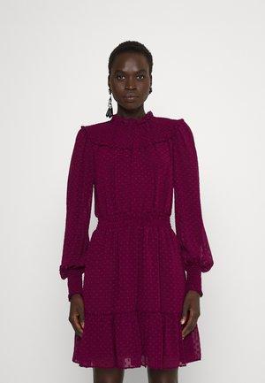 CLIP SMOCKED DRESS - Day dress - dark ruby