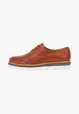 DERBY - Volnočasové šněrovací boty - cognac