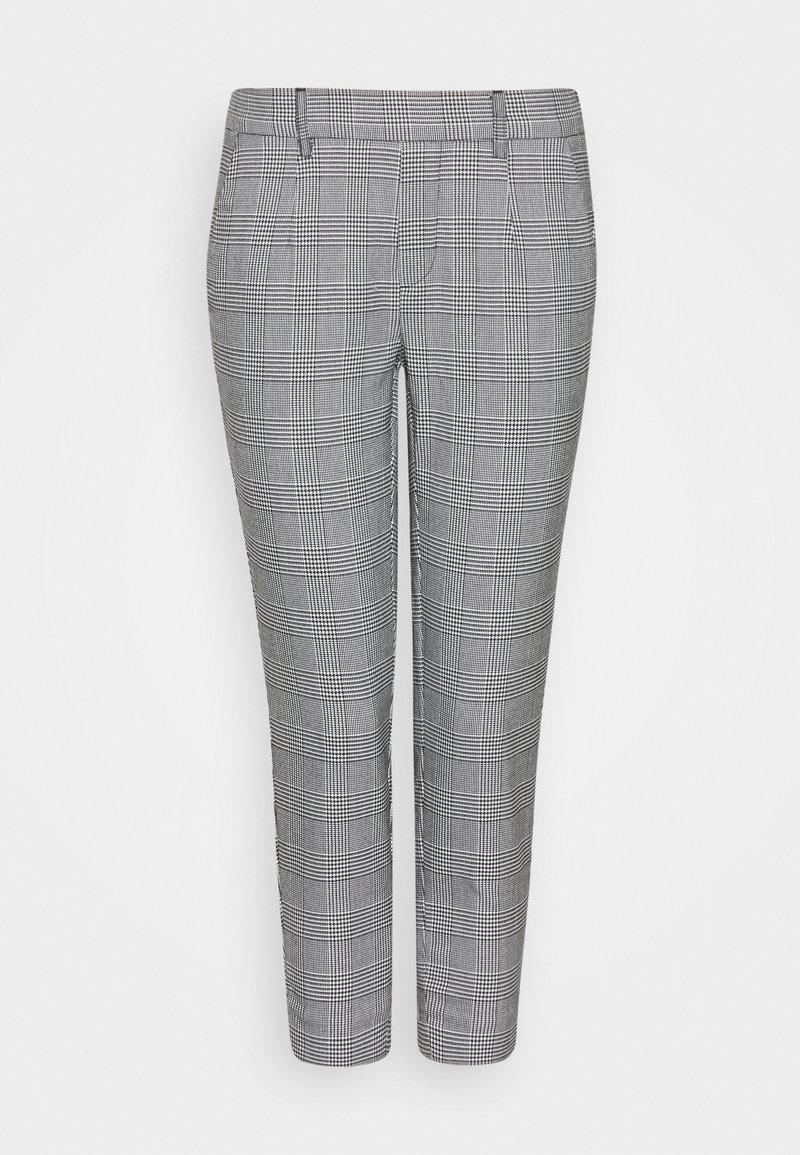 Object Petite - OBJLISA SLIM PANT - Trousers - gardenia/black