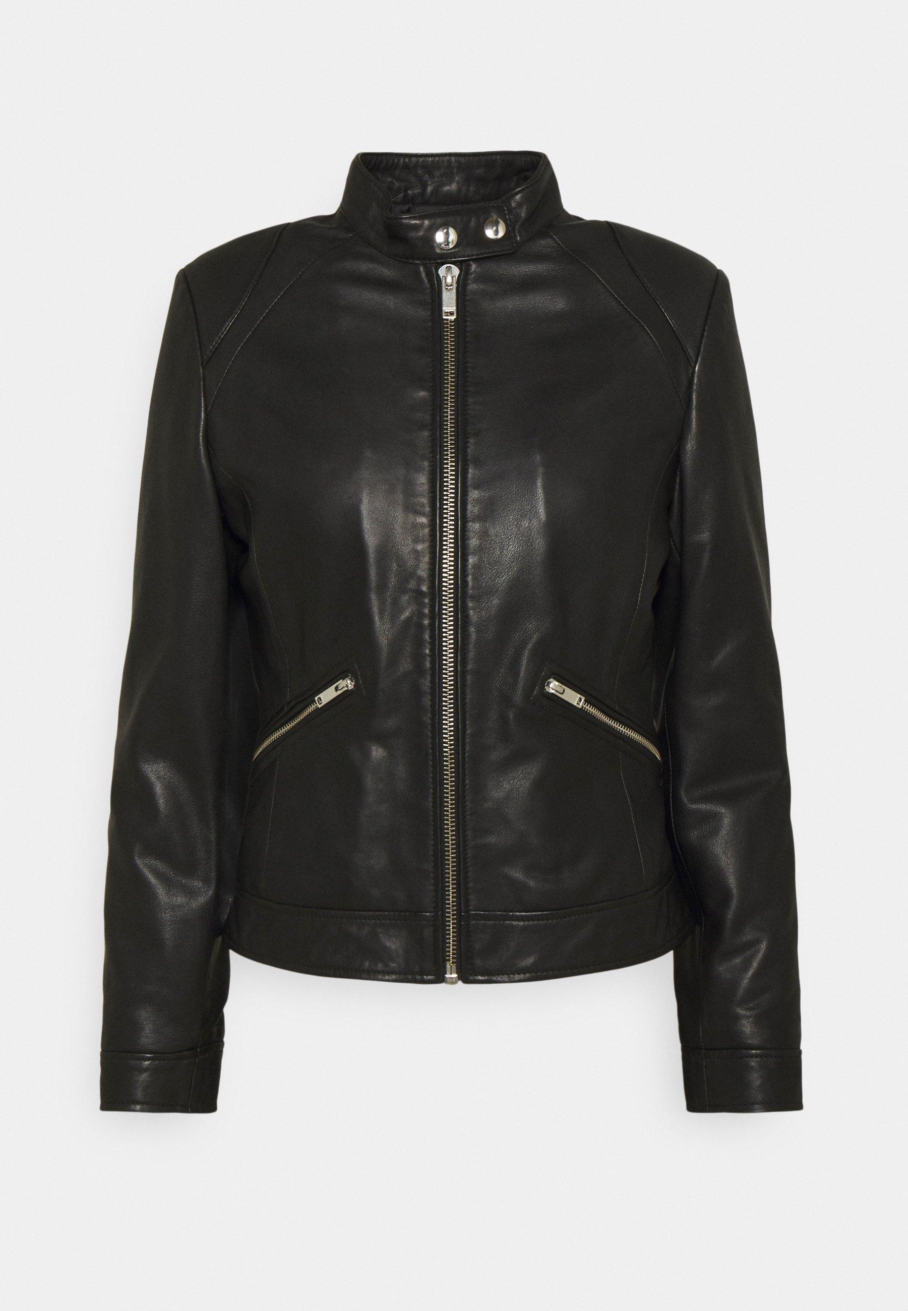 Femme BIKER - Veste en cuir - black