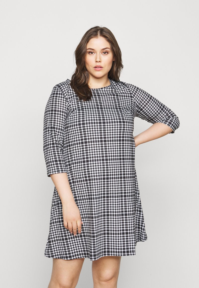 CAPSULE by Simply Be - 3/4 SLEEVE SWING - Jersey dress - dogtooth