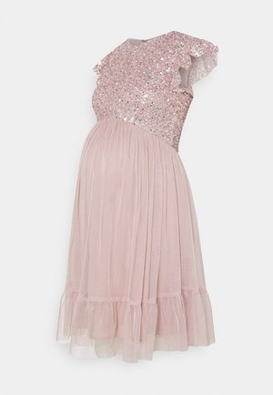 DELICATE SEQUIN RUFFLE SLEEVE MINI DRESS - Juhlamekko - frosted pink