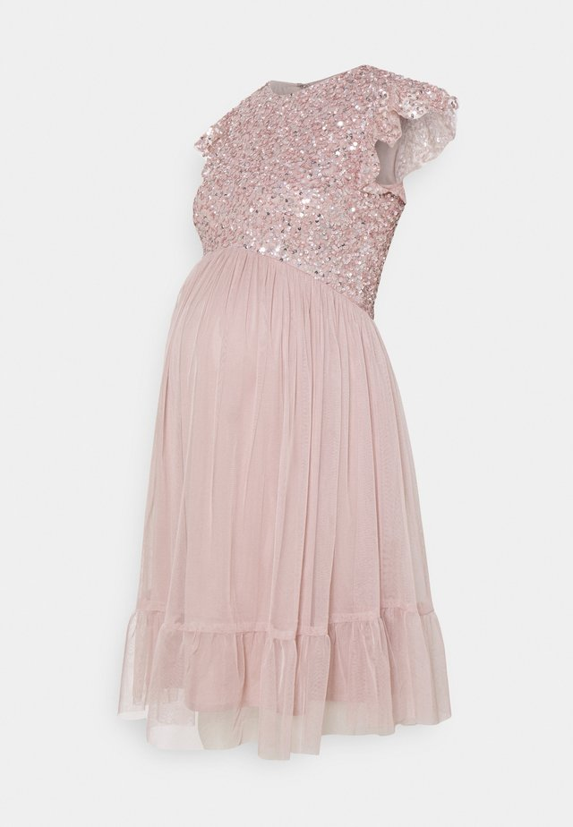 DELICATE SEQUIN RUFFLE SLEEVE MINI DRESS - Cocktail dress / Party dress - frosted pink