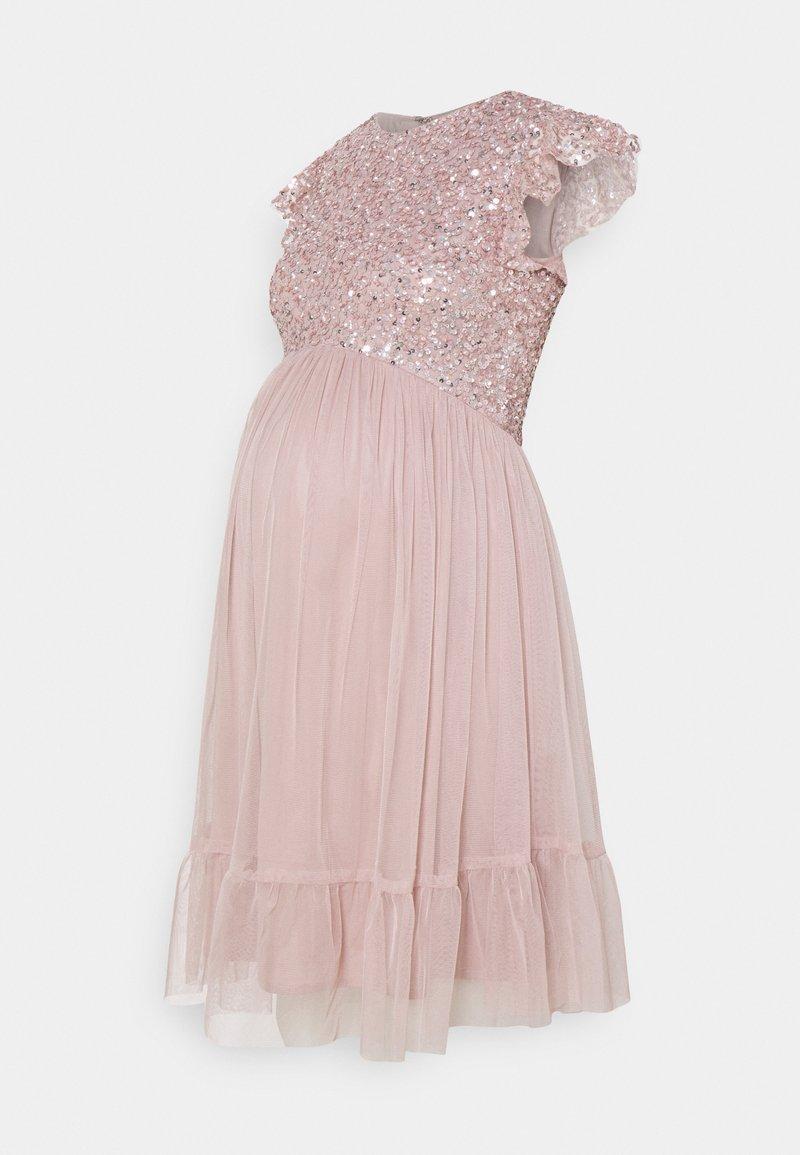 Maya Deluxe Maternity - DELICATE SEQUIN RUFFLE SLEEVE MINI DRESS - Juhlamekko - frosted pink