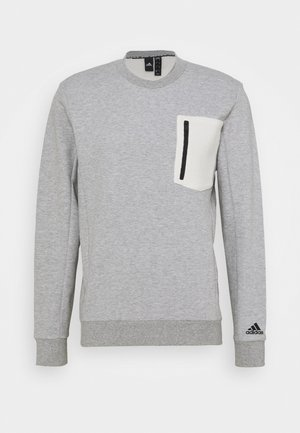 MUST HAVES SPORTS - Sweatshirt - medium grey heather/cream white
