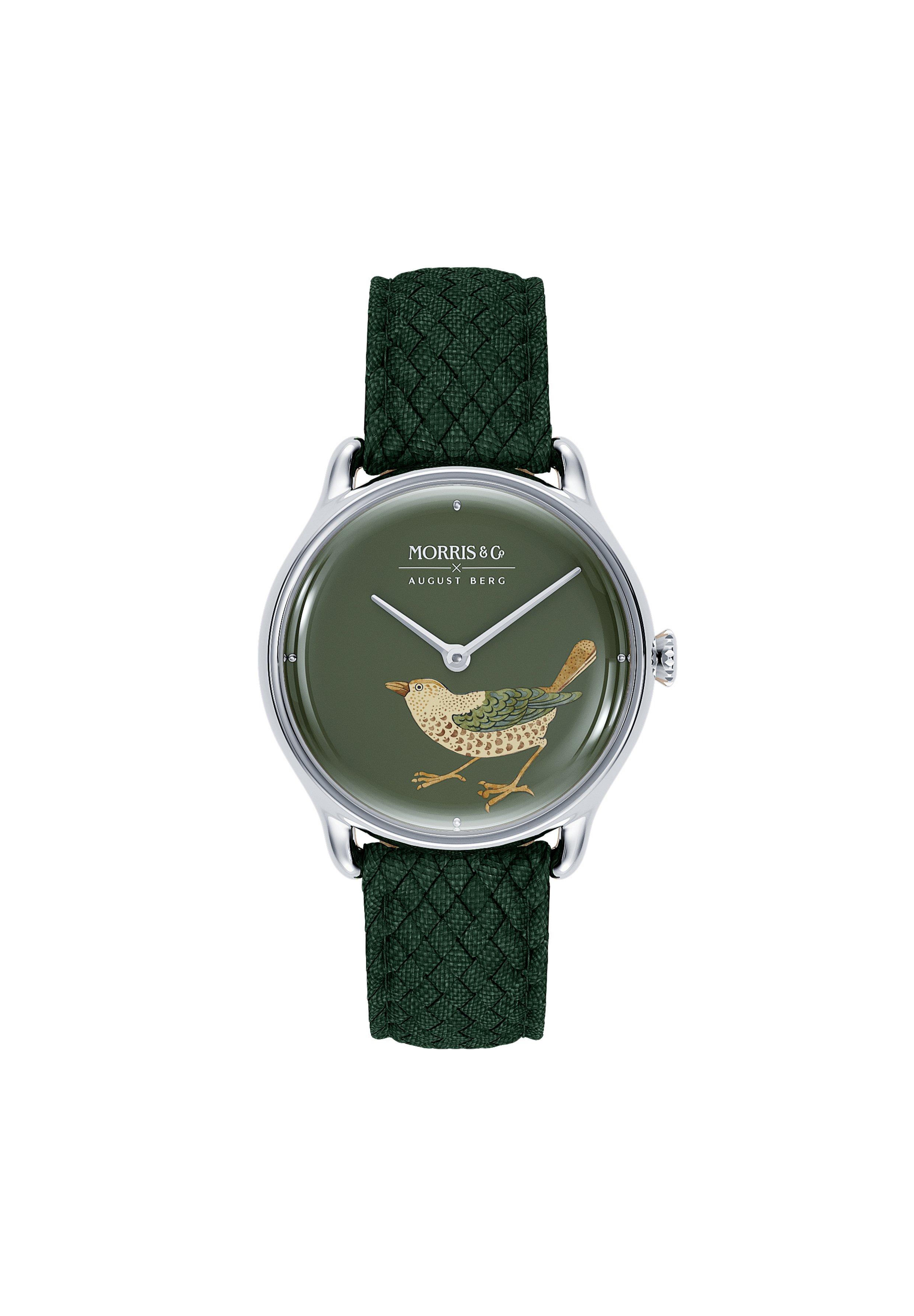 Homme UHR MORRIS & CO SILVER BIRD GREEN PERLON 30MM - Montre