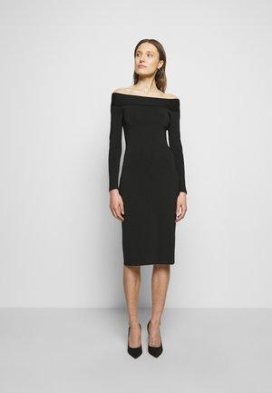 COMPACT SHINE BARDOT FITTED DRESS - Shift dress - black