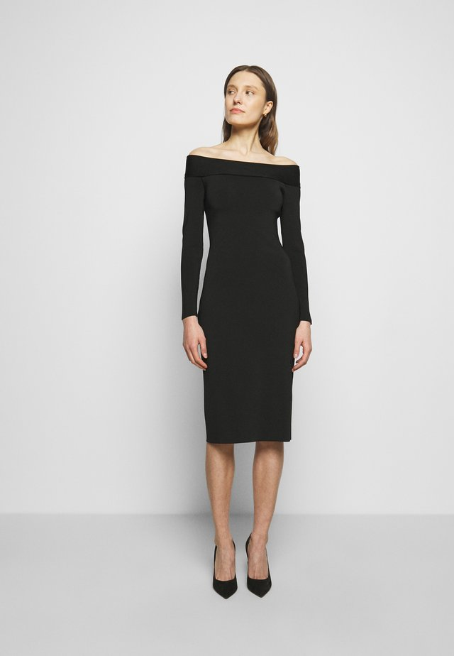 COMPACT SHINE BARDOT FITTED DRESS - Etuikleid - black