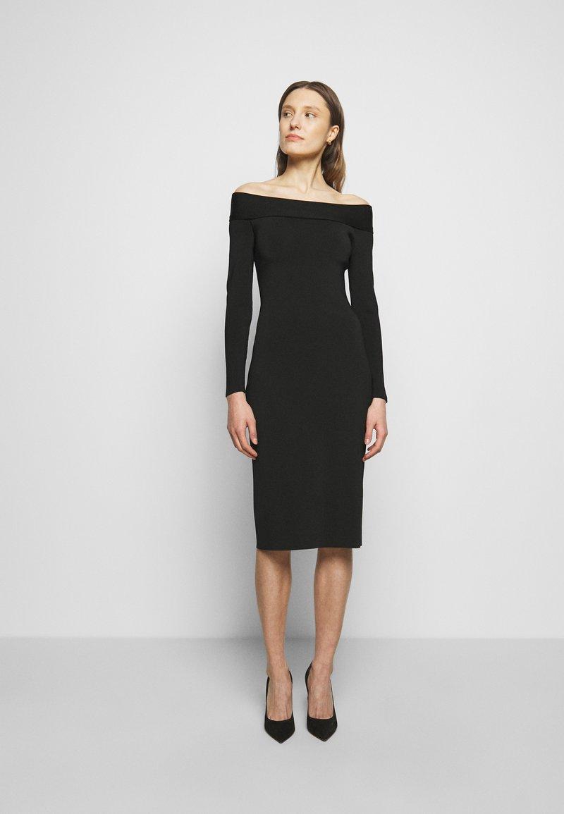 Victoria Beckham - COMPACT SHINE BARDOT FITTED DRESS - Shift dress - black