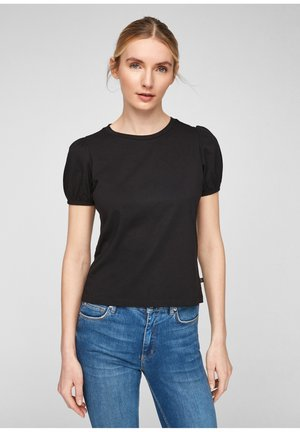 MIT PUFFÄRMELN - Print T-shirt - black