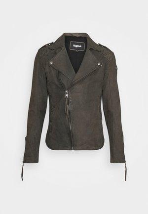ELON BUFFED - Kožená bunda - stone grey