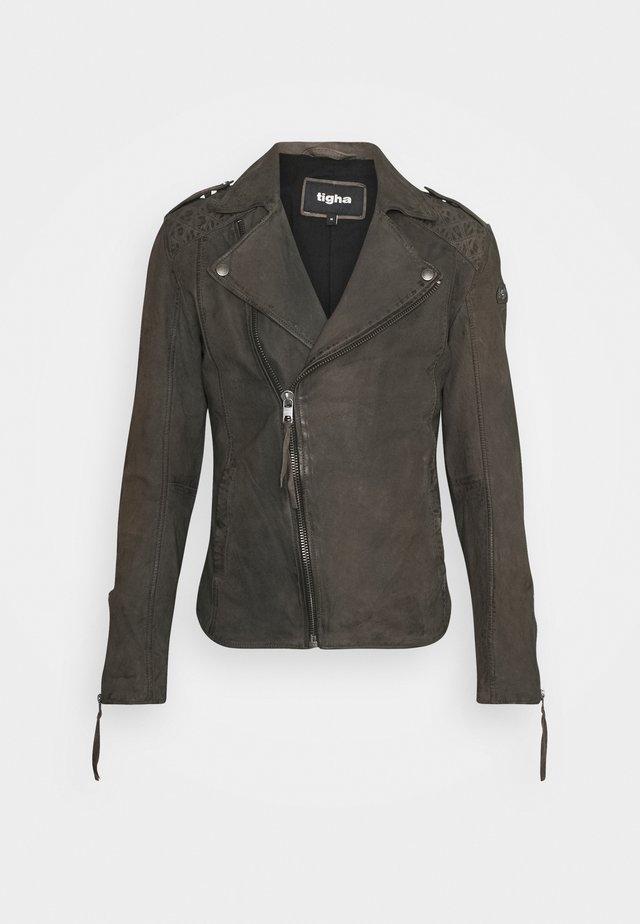 ELON BUFFED - Veste en cuir - stone grey