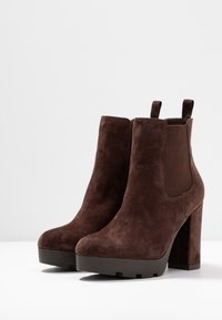 Anna Field Select - LEATHER HIGH HEELED ANKLE BOOTS - Korolliset nilkkurit - brown - 4