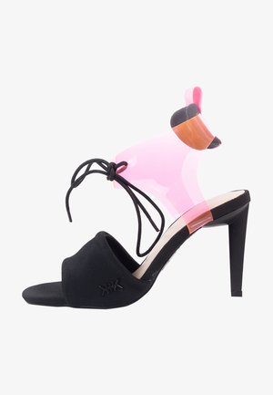 Sandalen met hoge hak - black/neon pink