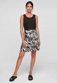 s.Oliver - A-line skirt - black zebra aop - 1