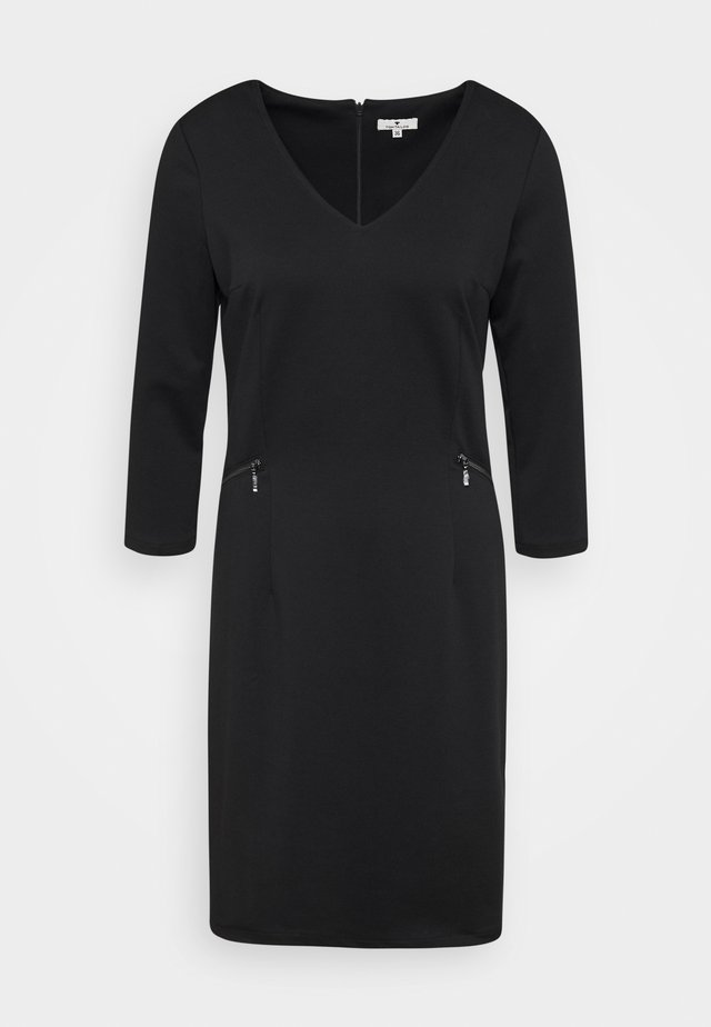 DRESS WITH ZIP POCKETS - Jerseykleid - deep black