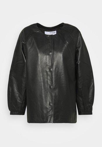 SLFVERA  O NECK JACKET - Leather jacket - black
