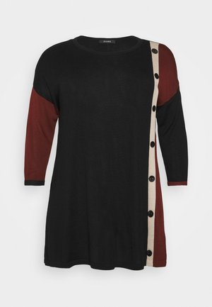 BUTTON COLOUR BLOCK JUMPER - Strikkegenser - black