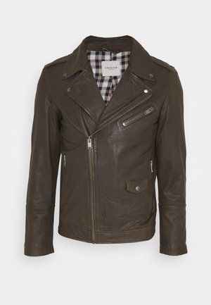 SLHRON BIKER - Leather jacket - wren