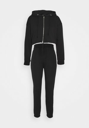 CROP ZIP HOODY JOGGER SET - Zip-up hoodie - black