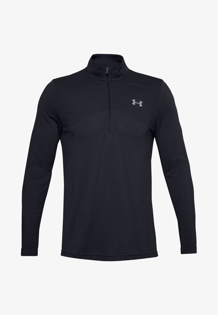 Under Armour - SEAMLESS 1/2 ZIP - Long sleeved top - black