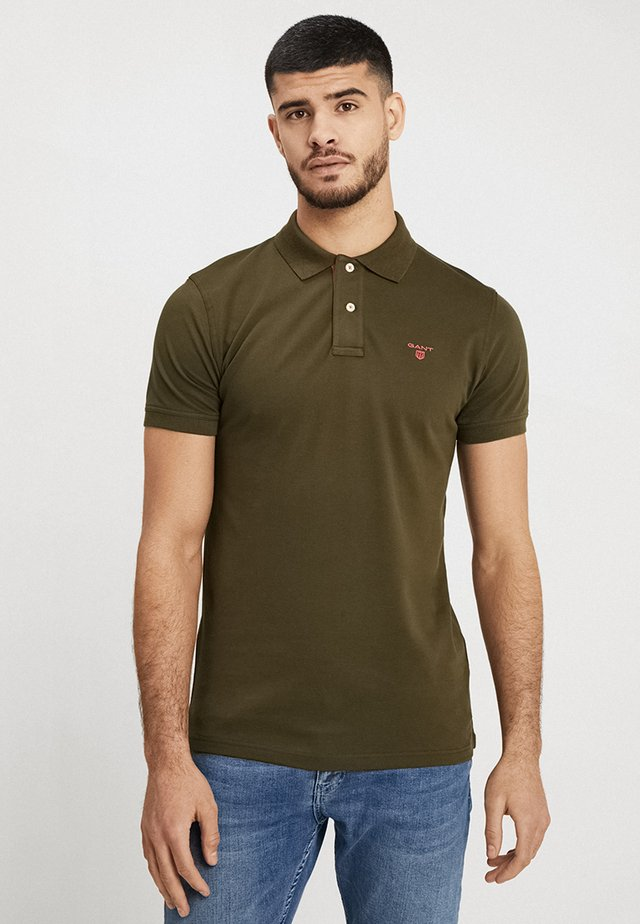 CONTRAST COLLAR RUGGER - Polo - field green
