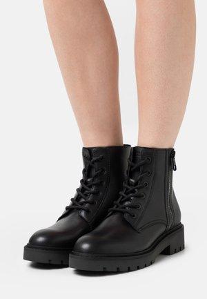 MID BOOT LACEUP ZIP  - Šněrovací kotníkové boty - black