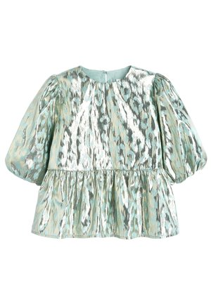 MINT PUFF SLEEVE ANIMAL BLOUSE WITH SILK (3-16YRS) - Bluser - green