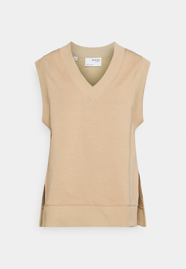 SLFRISMA VEST - Sweatshirt - taupe