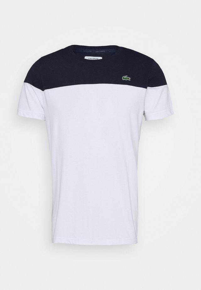 BLOCK - T-shirt sportiva - marine/blanc