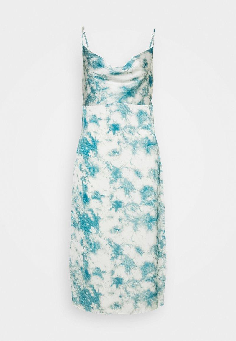 Missguided Petite - CAMI COWL SLIP MIDI DRESS TIE DYE - Denní šaty - blue
