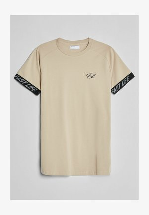 MUSCLE FIT - T-shirt med print - beige