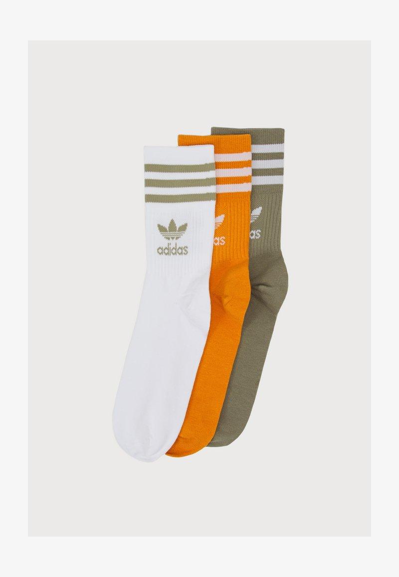 adidas Originals - MID CUT 3 PACK UNISEX - Socks - white/focus orange/orbit green