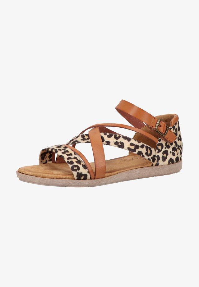 Sandales à plateforme - cognac/leo
