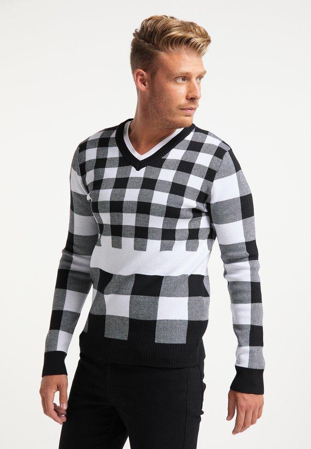Pullover - wollweiss schwarz