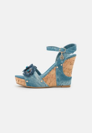 Platform sandals - splash blue