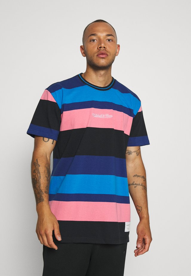 STRIPED SHORT SLEEVE - T-shirt z nadrukiem - navy