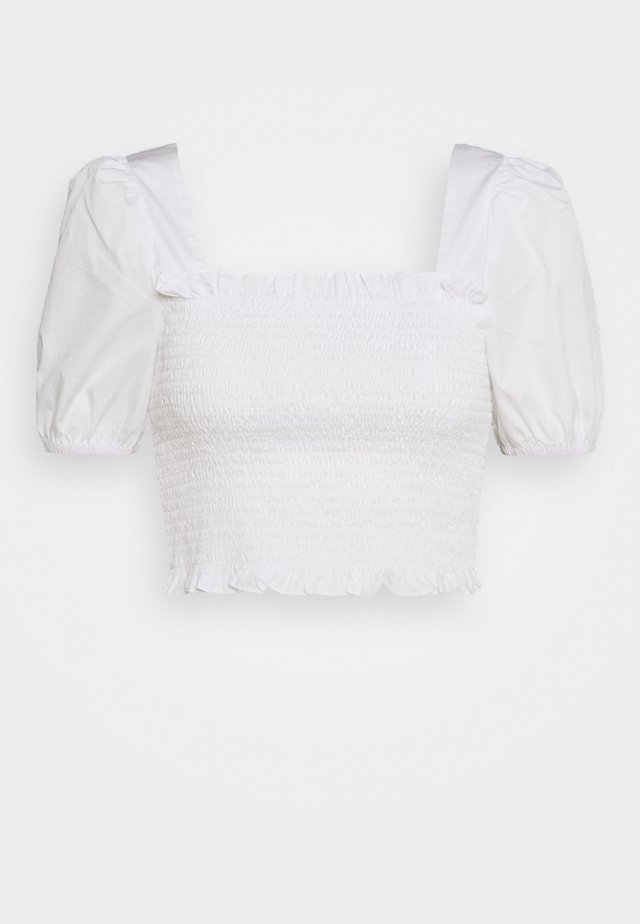 PUFF SLEEVE RUCHED CROP - Blouse - white
